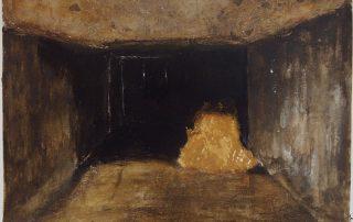 Béatrice Goldnadel 2003 - Balle de foin dans le garage d'une maison neuve abandonnée.