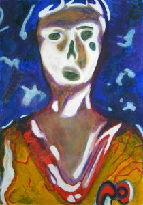 Peinture de Yolande Bernard d'après une tête de baby-foot.