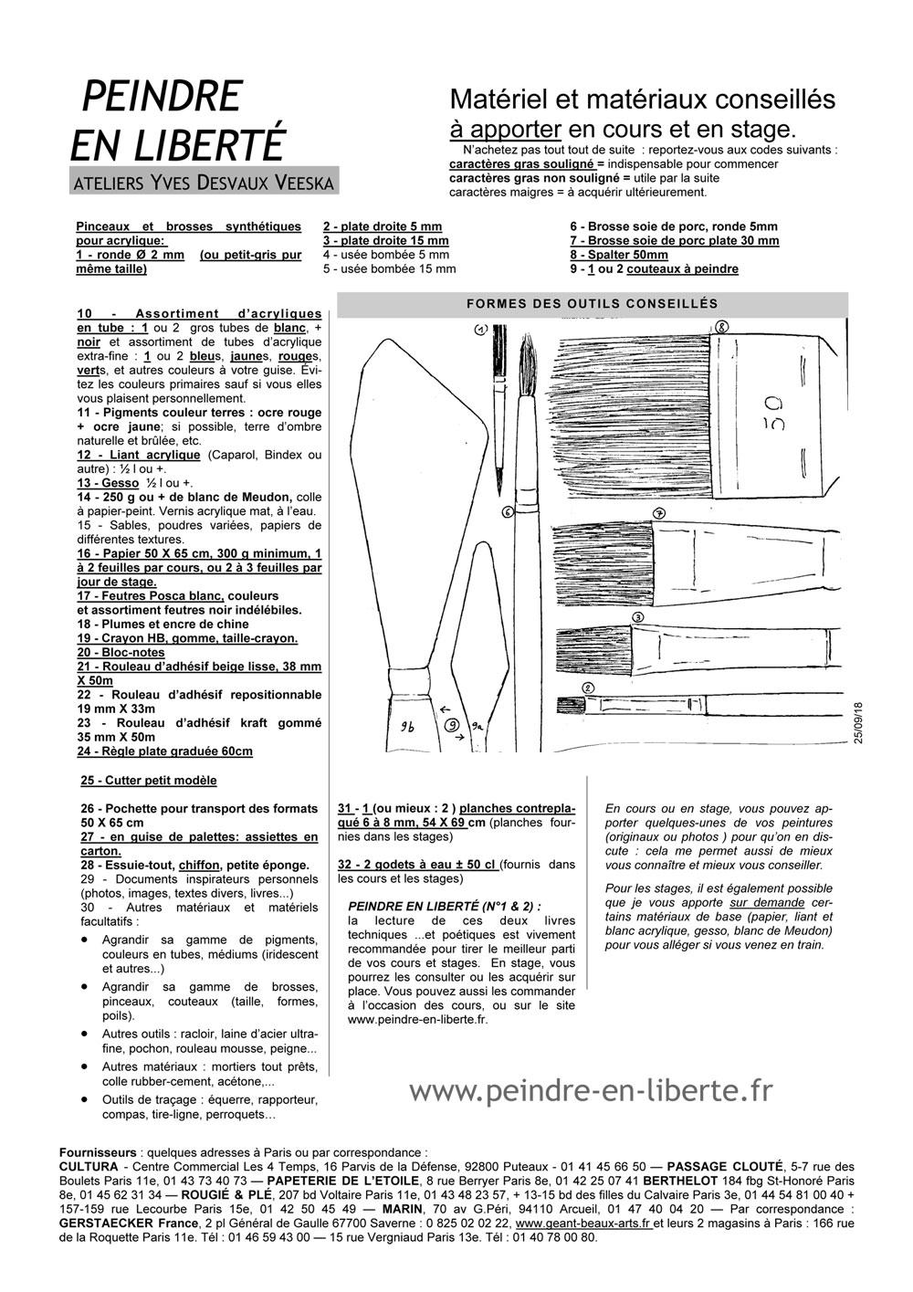 Liste matériel cours et stages de peinture