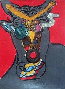 Peinture et collage de Christiane Bour, 2003