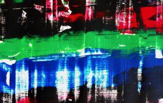 Jeanne Casas 2002, l'art du raclage pour composer une peinture en deux minutes.