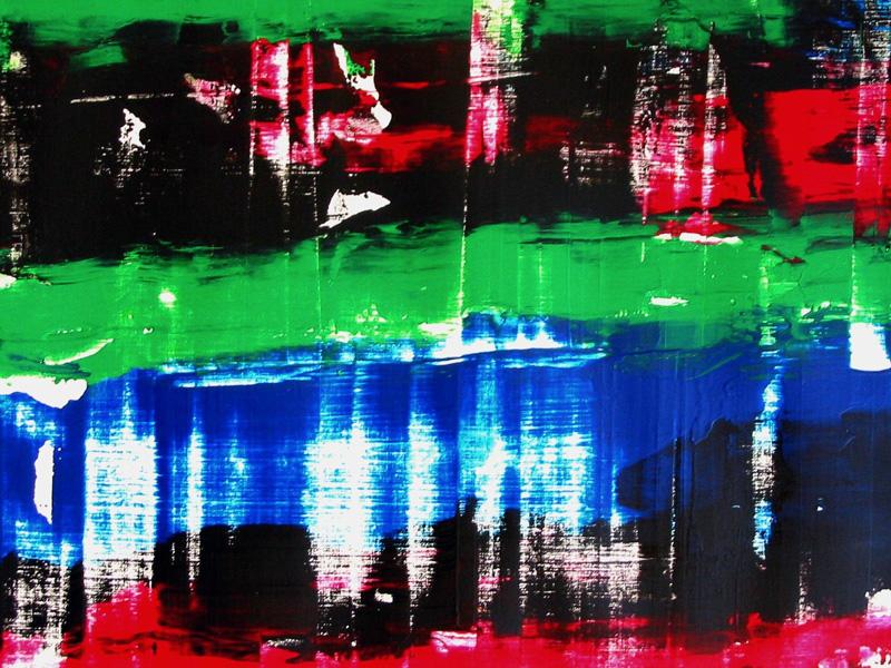 Jeanne Casas 2002, l'art du raclage, pour composer une peinture en deux minutes.