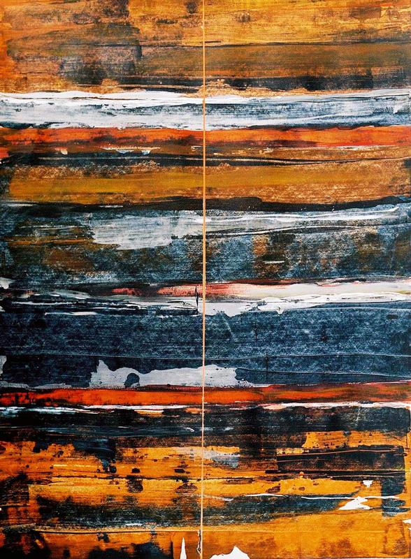 Odile Kopferschmitt 2002, l'art du raclage, pour composer une peinture en deux minutes.