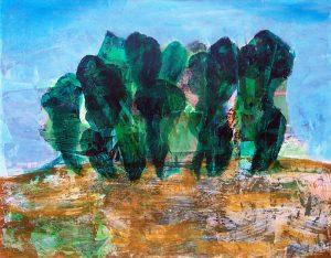 Béatrice Feltz 2004, bosquet, peinture et collage.