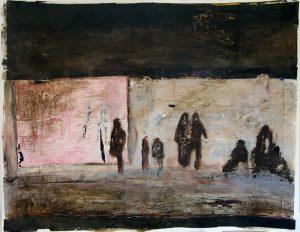 Béatrice Goldnadel 2004, passagers sur un quai, acrylique et collage sur papier.