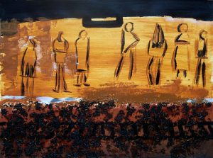 Jocelyne Colas 2004, acrylique et collage sur papier, passagers sur un quai.