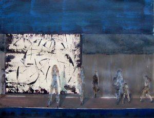Jola Sidi 2004, acrylique et transferts sur papier, passagers sur un quai.