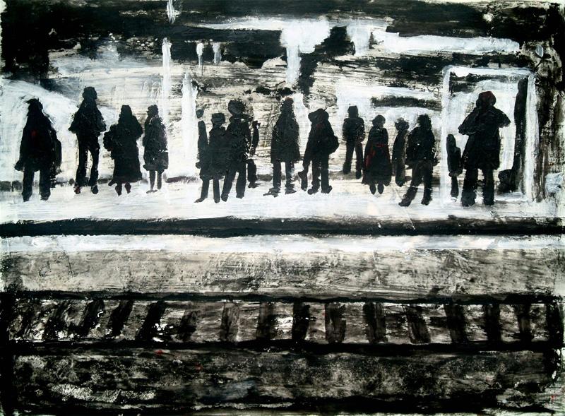 Marinette Le Hen 2003, acrylique et collage sur papier, passagers sur un quai.