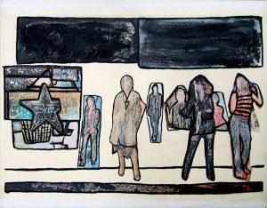 Philippe Touati 2004, acrylique et collage sur papier, passagers sur un quai.