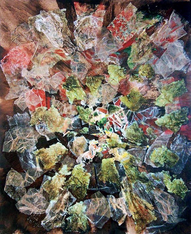 Françoise Guillemare 2003 - Acrylique et collage sur papier.