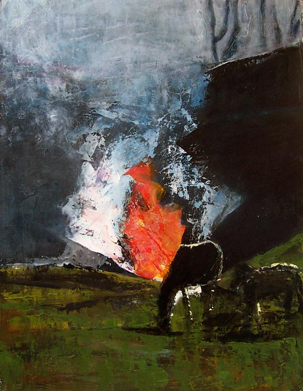 Joëlle Chevallier 2004 - Feux et chevaux - Acrylique et mortier sur papier.