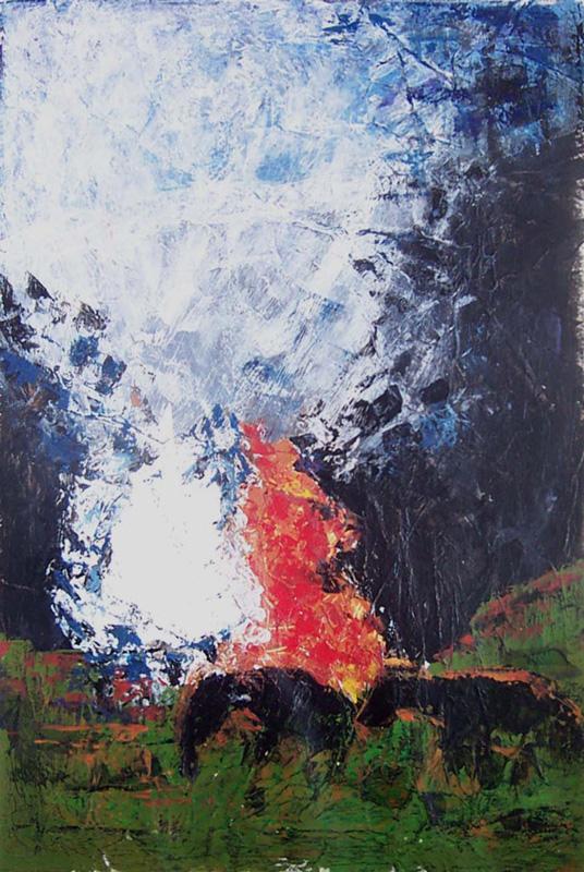 Christiane Bour 2004 - Feux et chevaux - Acrylique et mortier sur papier.