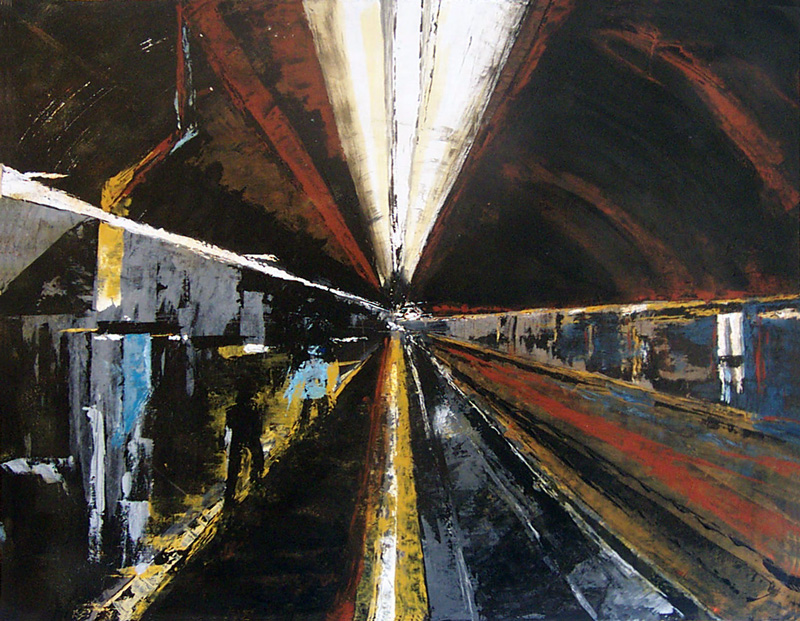 Joëlle Chevallier 2004 - Station de métro - abstraction géométrique. Peinture acrylique sur papier.