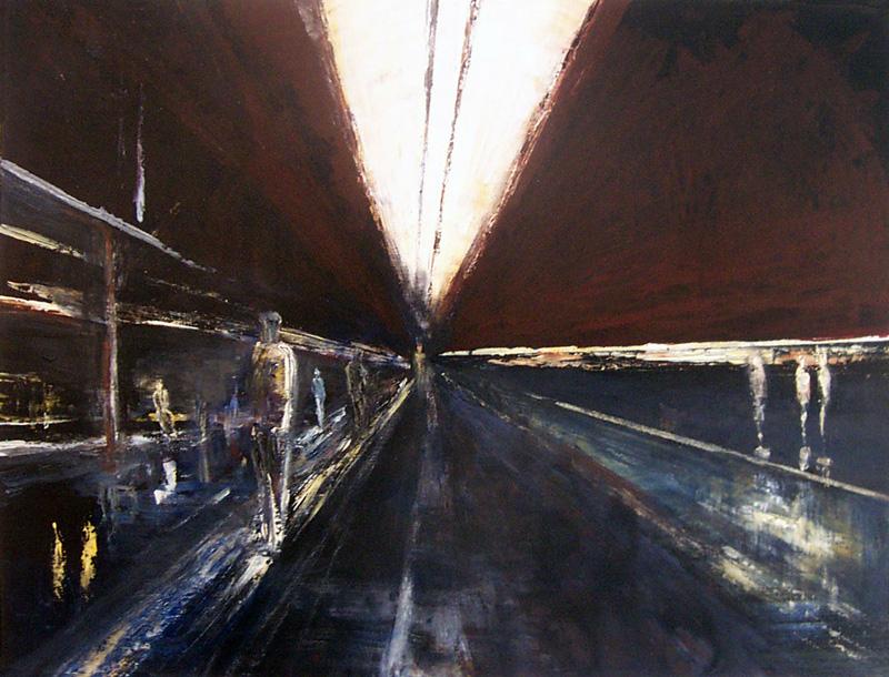 Sylvie Foussier 2004 - Station de métro - abstraction géométrique. Peinture acrylique sur papier.