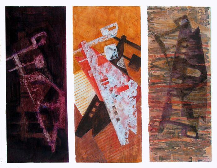 Lucienne Cywier 2005 - Alphabet du réel - Empreinte, pochoir, transfert acrylique sur papier.