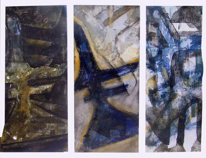Mireille Cahuzac 2005 - Alphabet du réel - Empreinte, pochoir, transfert acrylique sur papier.