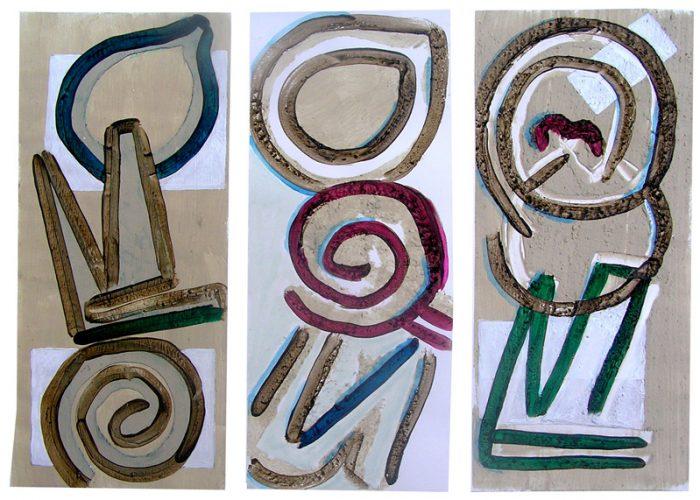 Philippe Touati 2005 - Alphabet du réel - Mortier et acrylique sur papier.