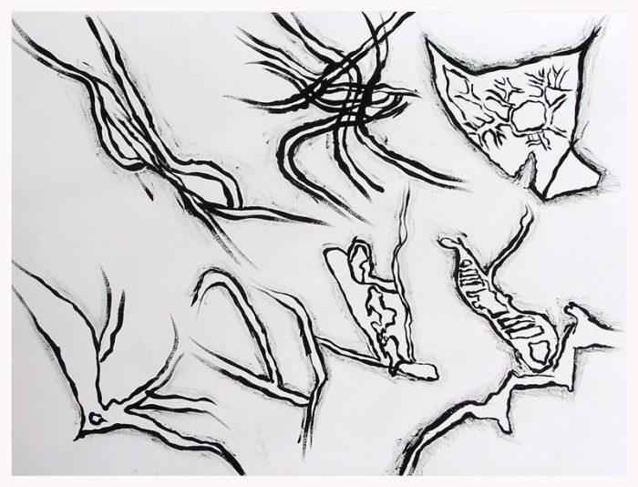 Saïda Nousseir 2005 - Alphabet du réel - Dessin au pochoir à l'acrylique sur papier.