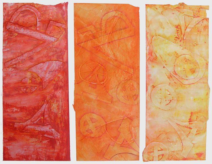 Saïda Nousseir 2005 - Alphabet du réel - Acrylique et collage relief sur papier