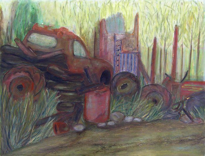 Yolande Bernard 2006 - Nature morte, casse auto.