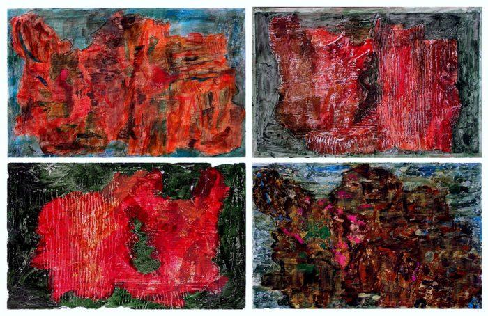 Andrée Job-Querzola 2007 - Peinture île, peintre explorateur -Cartographie imaginaire - Acrylique et collage
