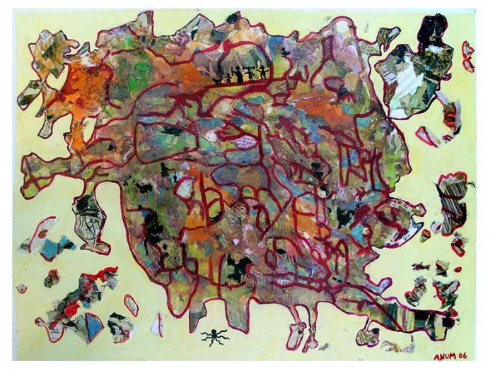 Anum 2007 - Peinture île, peintre explorateur -Cartographie imaginaire - Acrylique et collage