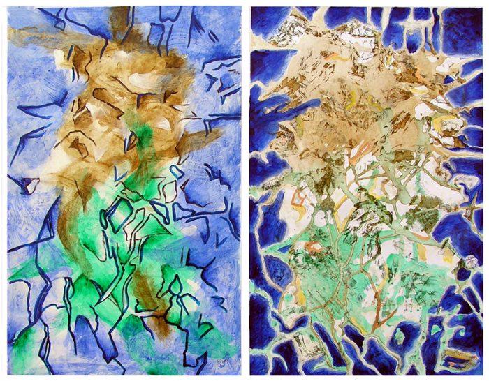 Béatrice Feltz 2007 - Peinture île, peintre explorateur -Cartographie imaginaire - Acrylique et collage