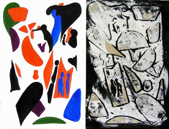Catherine Turpin 2007 - Peinture île, peintre explorateur -Cartographie imaginaire - Acrylique et collage