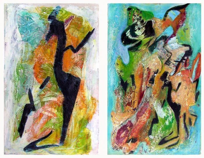 Claudine Ghenassia 2007 - Peinture île, peintre explorateur -Cartographie imaginaire - Acrylique et collage