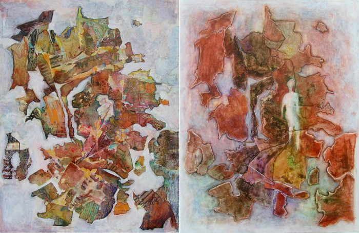 Françoise Guillemare 2007 - Peinture île, peintre explorateur -Cartographie imaginaire - Acrylique et collage