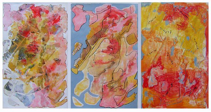 Geneviève Buchon 2007 - Peinture île, peintre explorateur -Cartographie imaginaire - Acrylique et collage