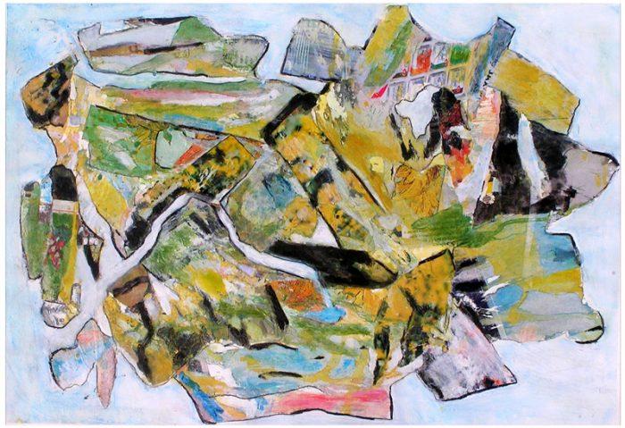 Gisèle Dubois 2007 - Peinture île, peintre explorateur -Cartographie imaginaire - Acrylique et collage