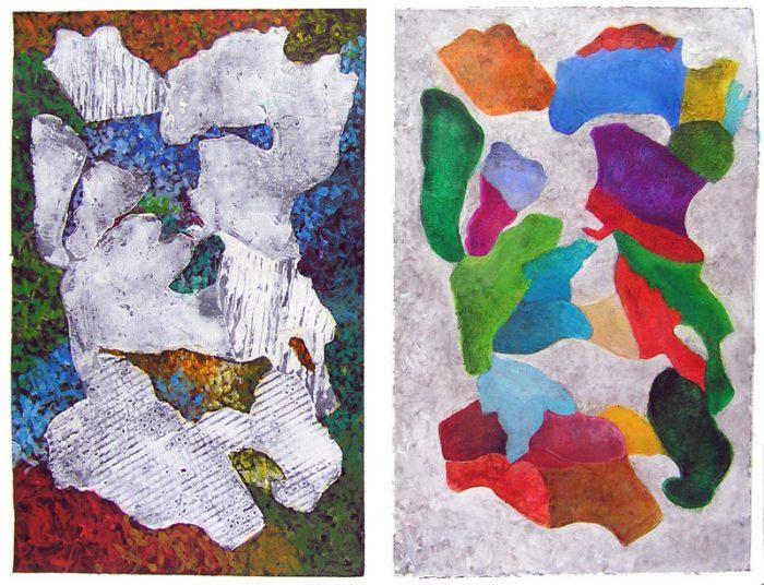 Isabelle Bisson 2007 - Peinture île, peintre explorateur -Cartographie imaginaire - Acrylique et collage