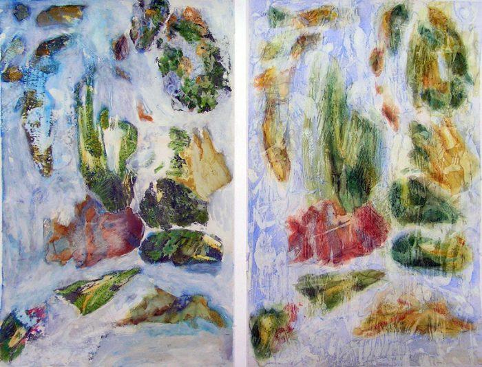 Kati Kukkasniemi 2007 - Peinture île, peintre explorateur -Cartographie imaginaire - Acrylique et collage
