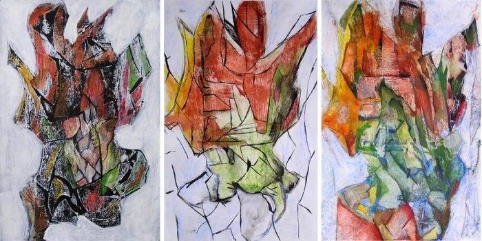 Martine Aubrey 2007 - Peinture île, peintre explorateur -Cartographie imaginaire - Acrylique et collage