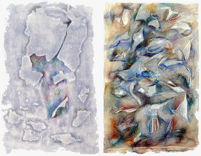 Martine Lucy 2007 - Peinture île, peintre explorateur -Cartographie imaginaire - Acrylique et collage