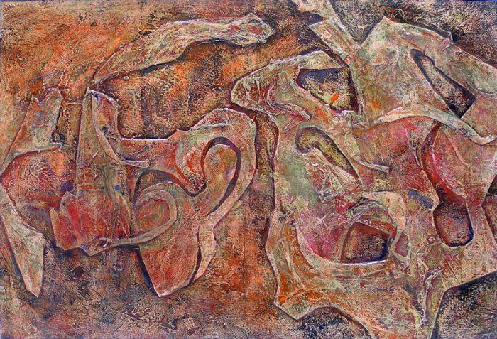 Martine Rival 2007 - Peinture île, peintre explorateur -Cartographie imaginaire - Acrylique et collage