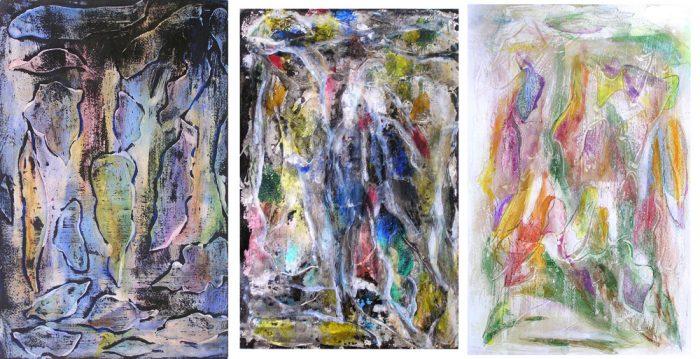 Mireille Vincent 2007 - Peinture île, peintre explorateur -Cartographie imaginaire - Acrylique et collage