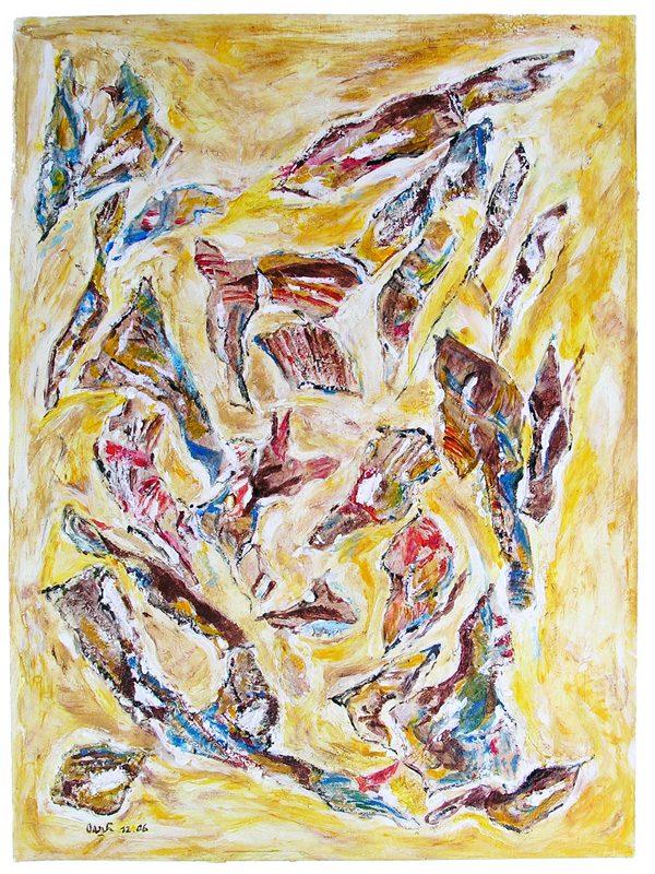 Oanh 2007 - Peinture île, peintre explorateur -Cartographie imaginaire - Acrylique et collage
