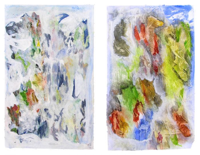 Régine Labouré 2007 - Peinture île, peintre explorateur -Cartographie imaginaire - Acrylique et collage
