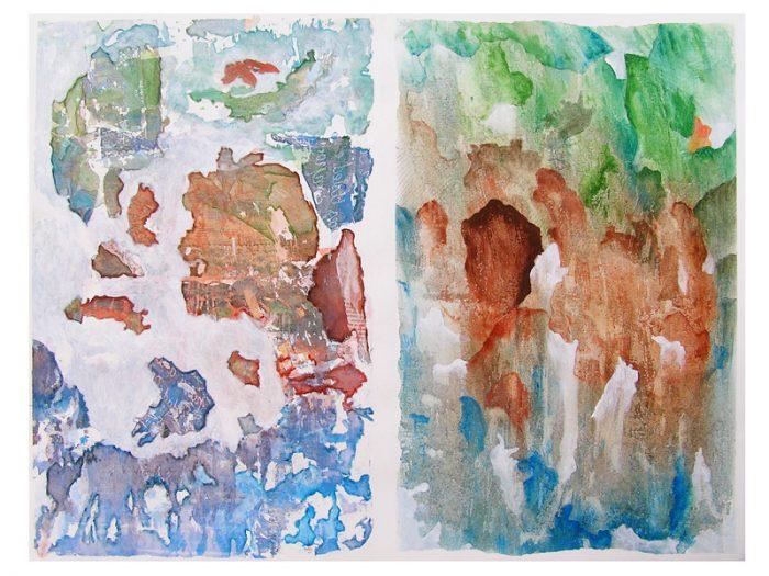 Saïda Nousseir 2007 - Peinture île, peintre explorateur -Cartographie imaginaire - Acrylique et collage