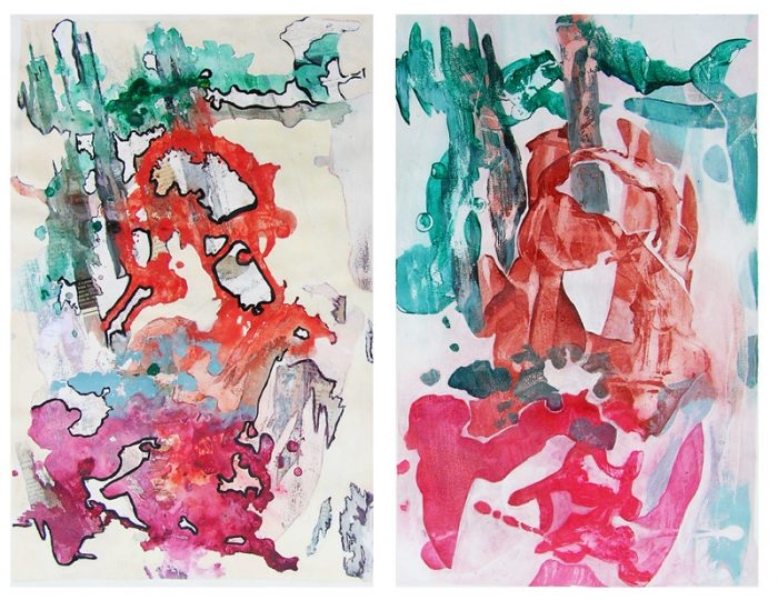 Solenne Blanc 2007 - Peinture île, peintre explorateur -Cartographie imaginaire - Acrylique et collage