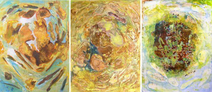 Yolande Bernard 2007 - Peinture île, peintre explorateur -Cartographie imaginaire - Acrylique et collage