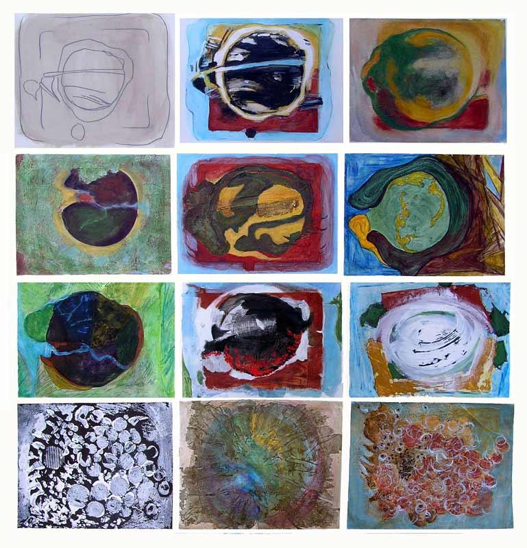 Graines de peinture : 12 variations par Yolande Bernard, 2009