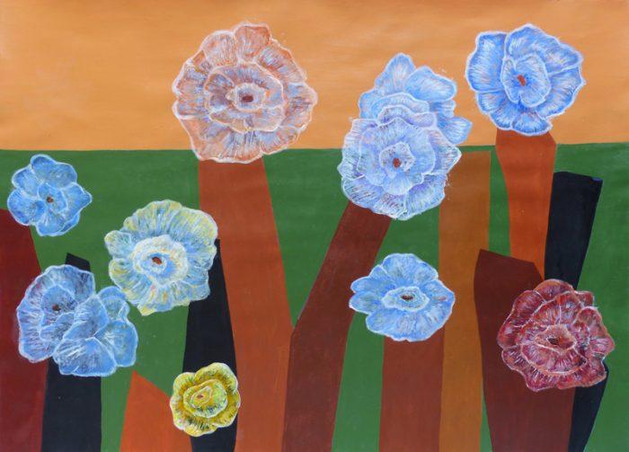 Isabelle Bisson 2017 - La flore de l'Ile de Pré Britenne - Peinture acrylique sur papier.