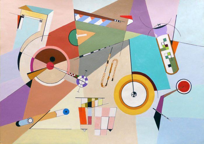 Isabelle Bisson 2017 - Le vélo de Kandinsky - Peinture acrylique sur papier.