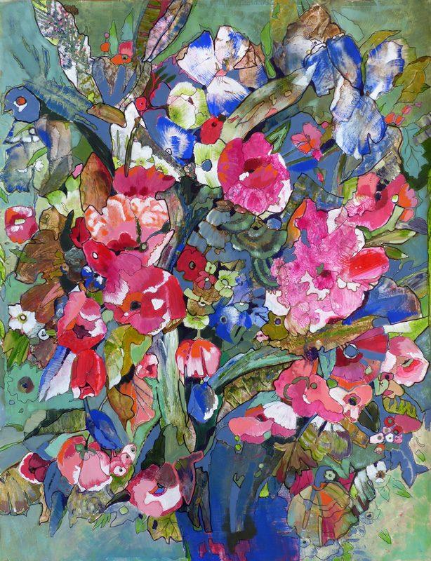Marie Kresser-Verbois 2017 - La flore sur l'Ile de Pré Britenne - Fleurs imaginaires à partir de taches de peinture.