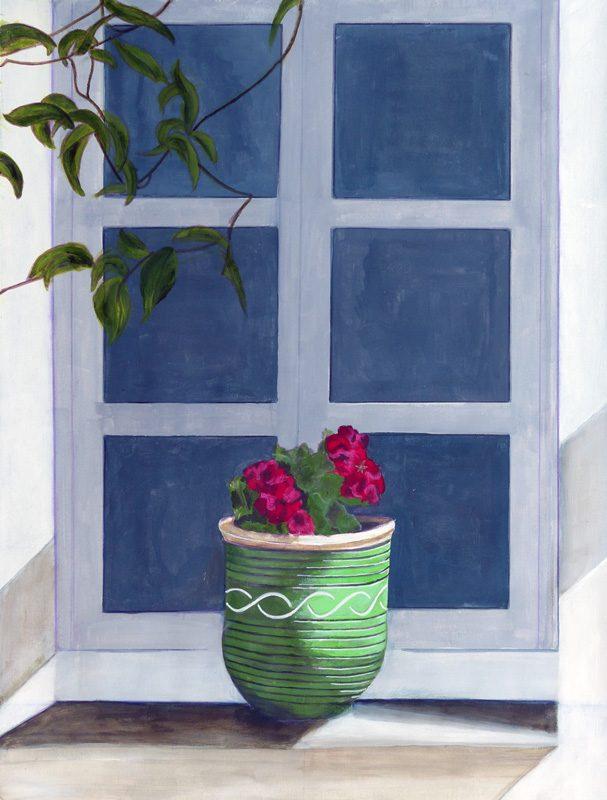 Yolande Bernard 2017 - Bouquet de fleurs sur un appui de fenêtre - Peinture acrylique sur papier