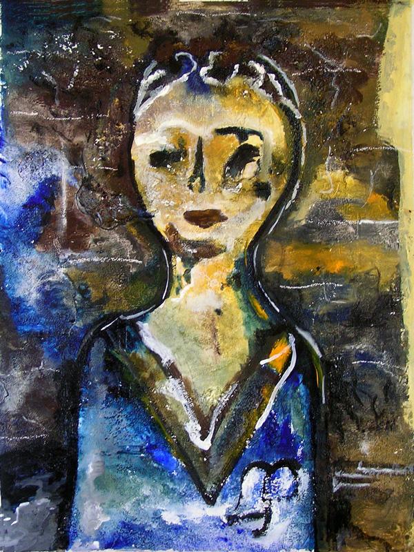 Peinture de Françoise Dubreuil-Kherfi, d'après une tête de baby-foot.