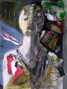Peinture de Gisèle Dubois, d'après une tête de baby-foot.